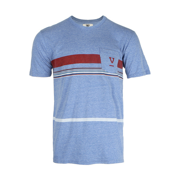 DREDGES II SS PKT TEE BLUE WASH HEATHER